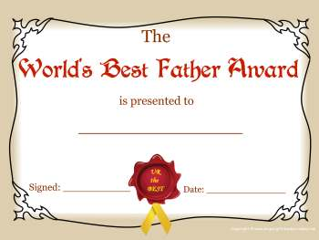 free printable certificate -best dad award color
