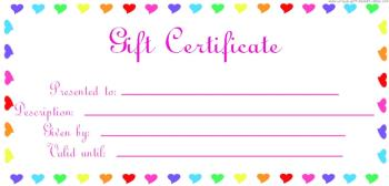 blank gift certificate colorful heart frame