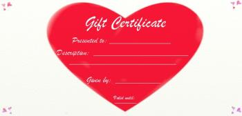 blank gift certificate big red heart