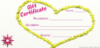 blank gift certificate yellow 3d heart