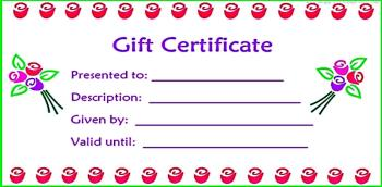 blank gift certificate roses white background
