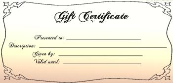 blank gift certificate old fashioned beige