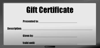 blank gift certificate bw tv
