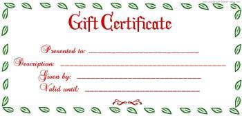 blank gift certificate christmas theme