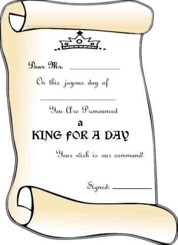 free printable certificate - king for a day