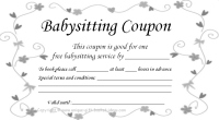 free printable coupon babysitting bw