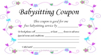 free printable babysitting coupon color