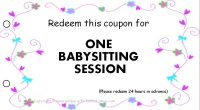 Mom coupon - babysitting
