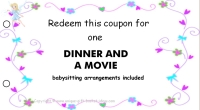 Mom coupon book- dinner and movie