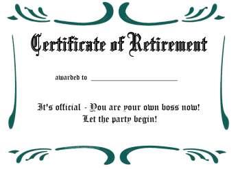 free printable certificate - retirement 2