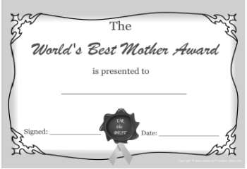 free printable certificate -best mom award bw