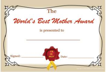 free printable certificate -best mom award color